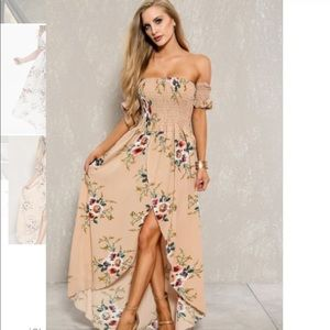 Beautiful nude floral smocked dress